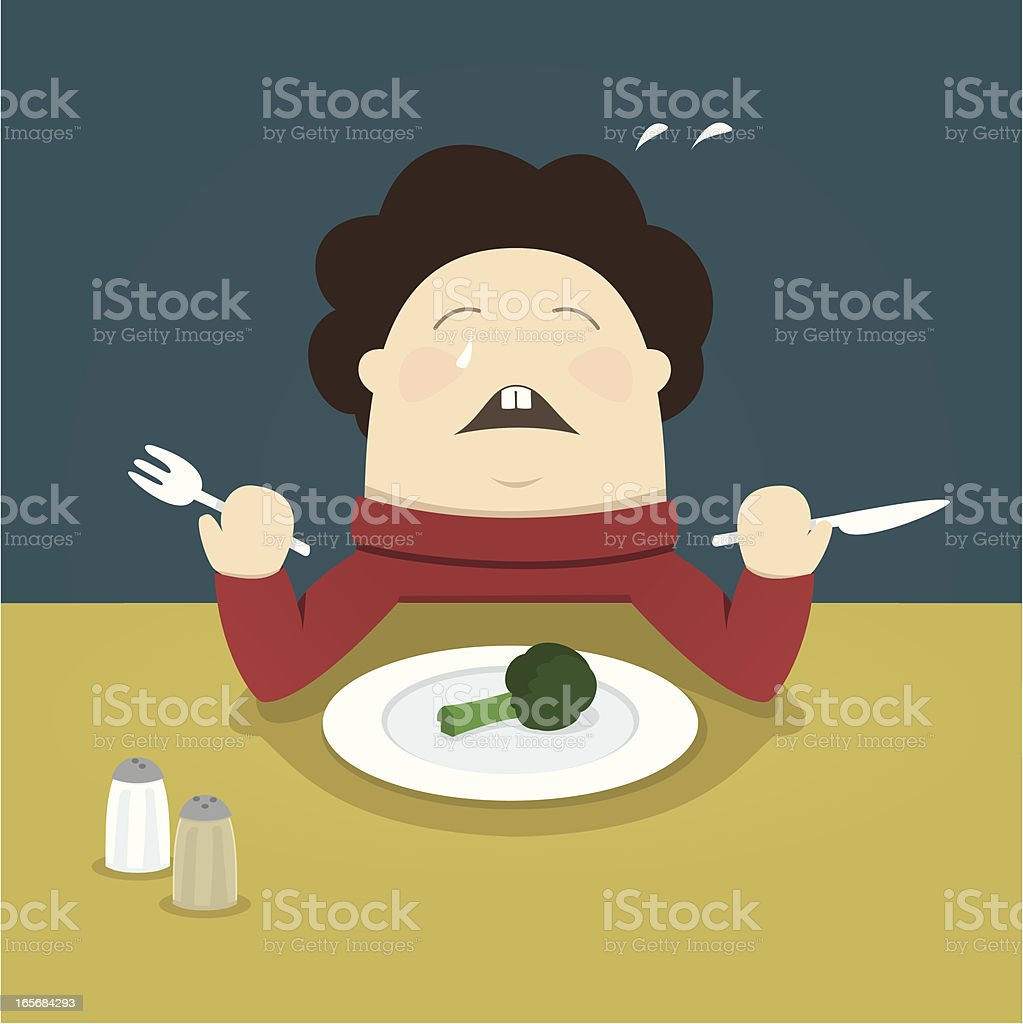 I hate vegetables! vector art illustration