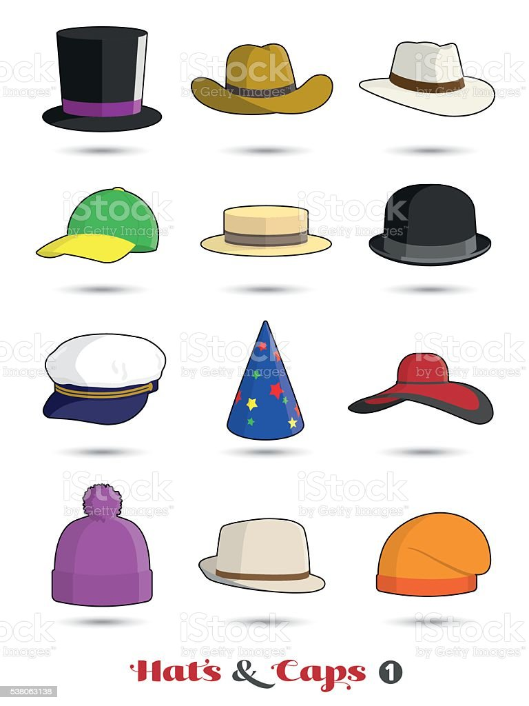 Hats and Caps Icon Set vector art illustration