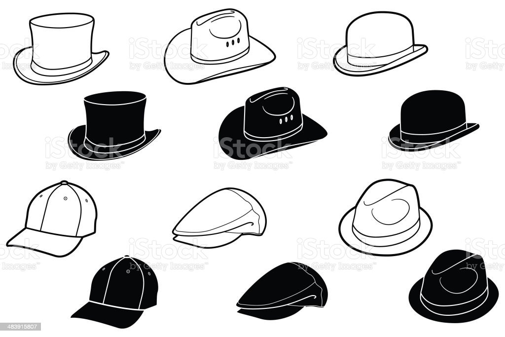 Hats and Caps royalty-free stock vector art