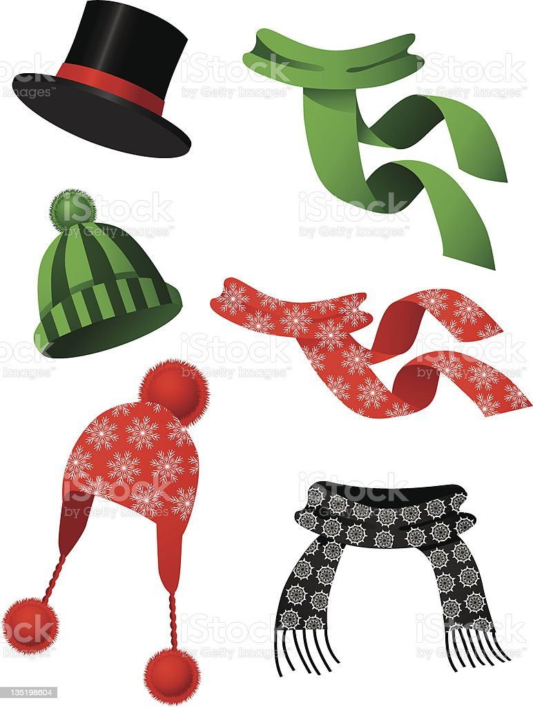 Hats and scarves vector art illustration