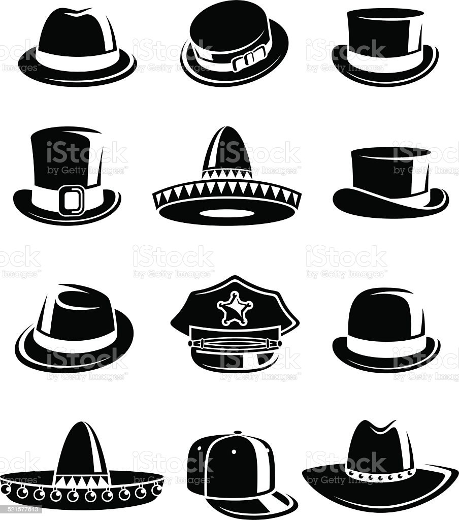 Hats collection set. Vector vector art illustration