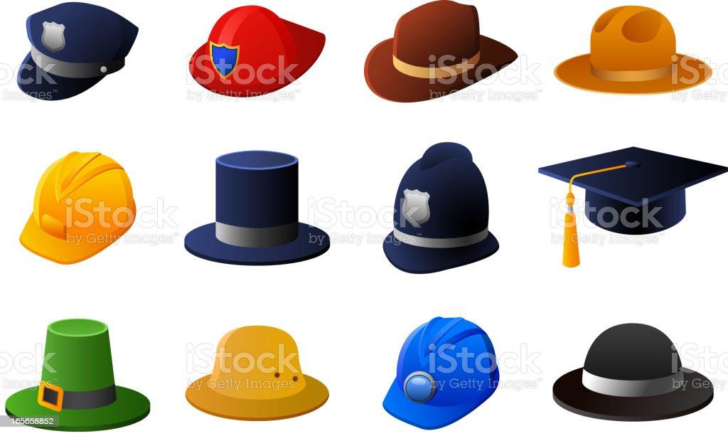 Hats helmet headguear Police Fireman Sheriff Irish Bowler Hat royalty-free stock vector art