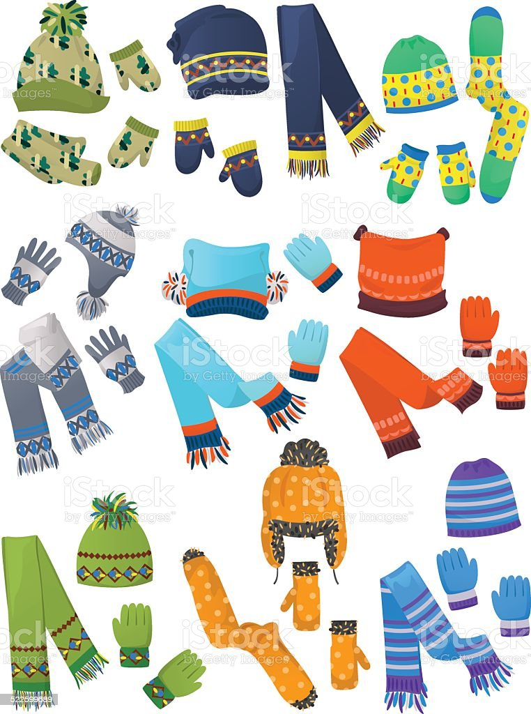 Hats, scarves and mittens for little boys vector art illustration