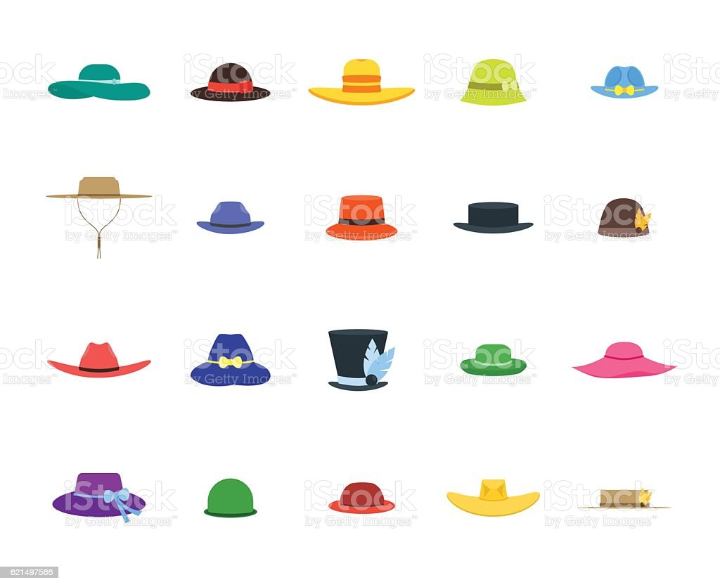 Hats Set Fashion for Men and Women. Vector vector art illustration