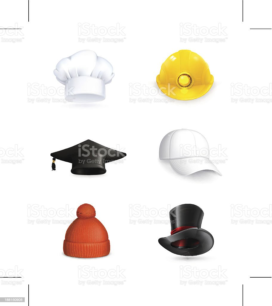 Hats set vector art illustration