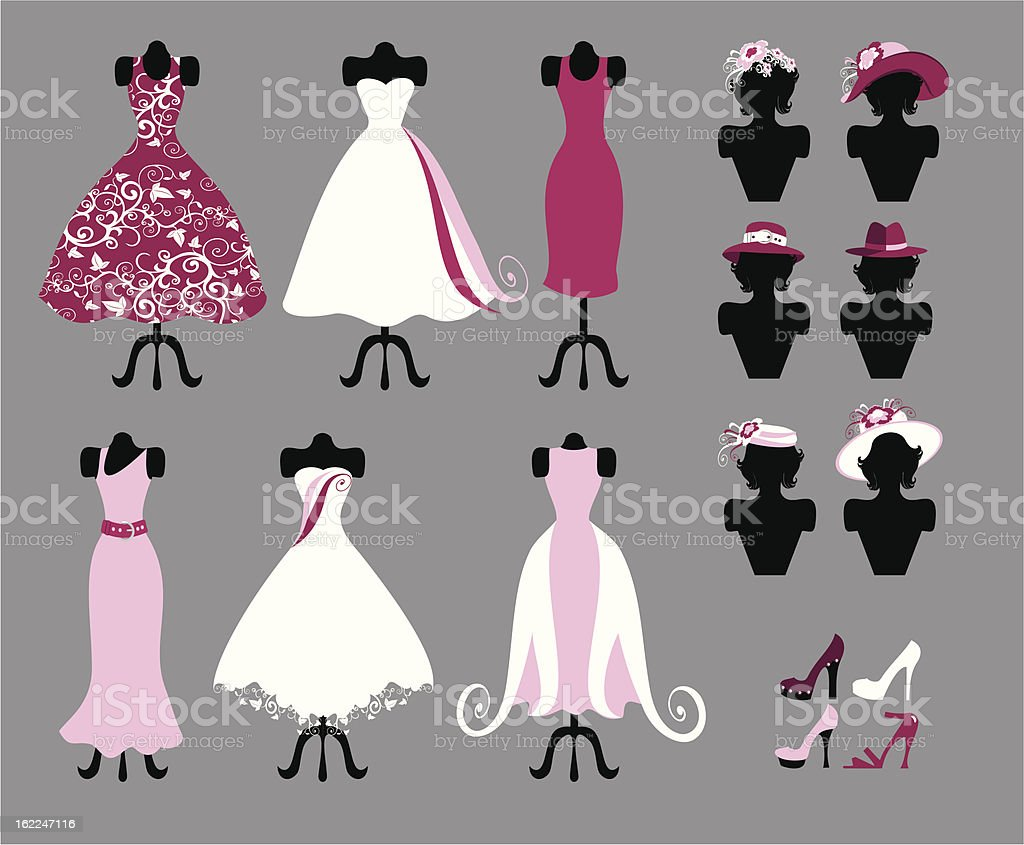 hats, shoes and dresses royalty-free stock vector art
