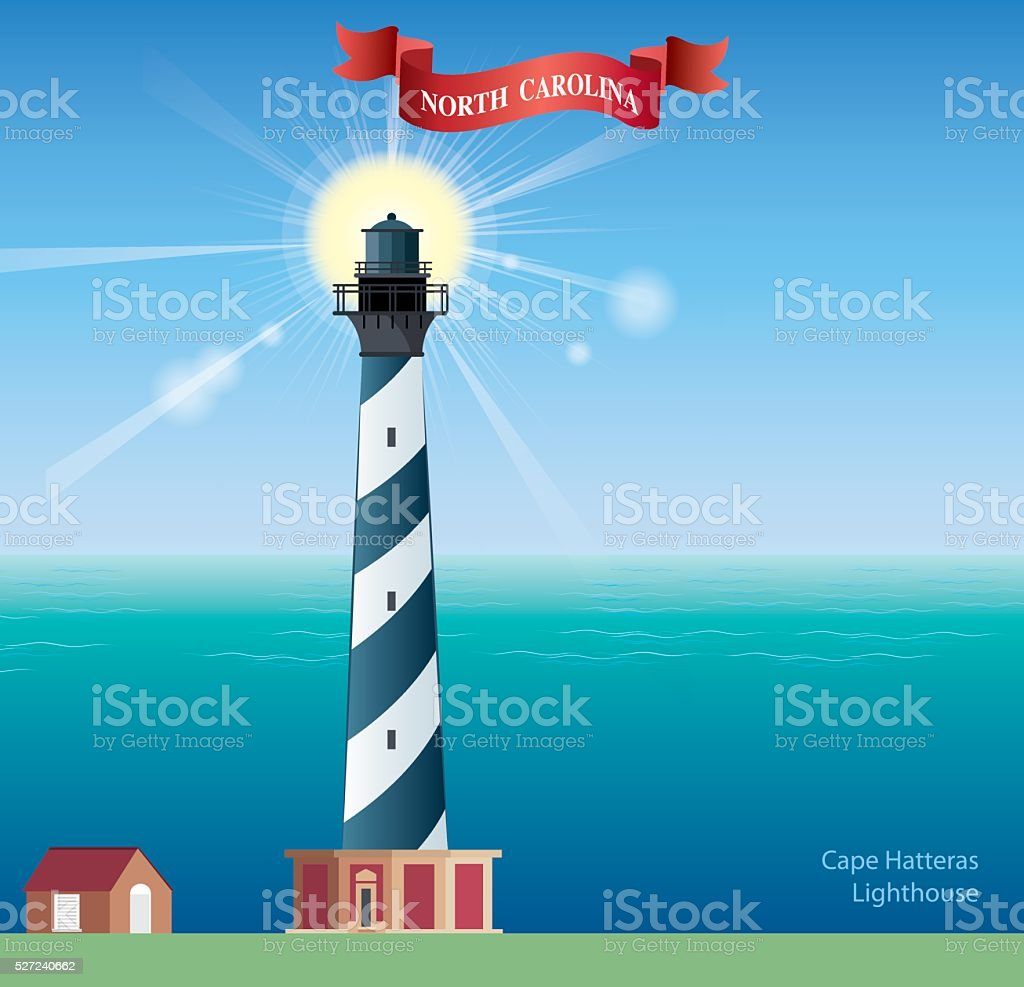 Hatteras Lighthouse vector art illustration