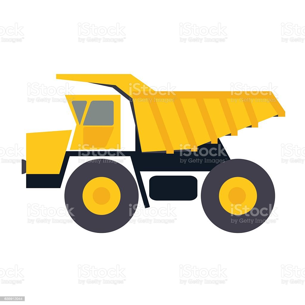 Haul or dump truck vector icon. Dumper or tipper symbol vector art illustration