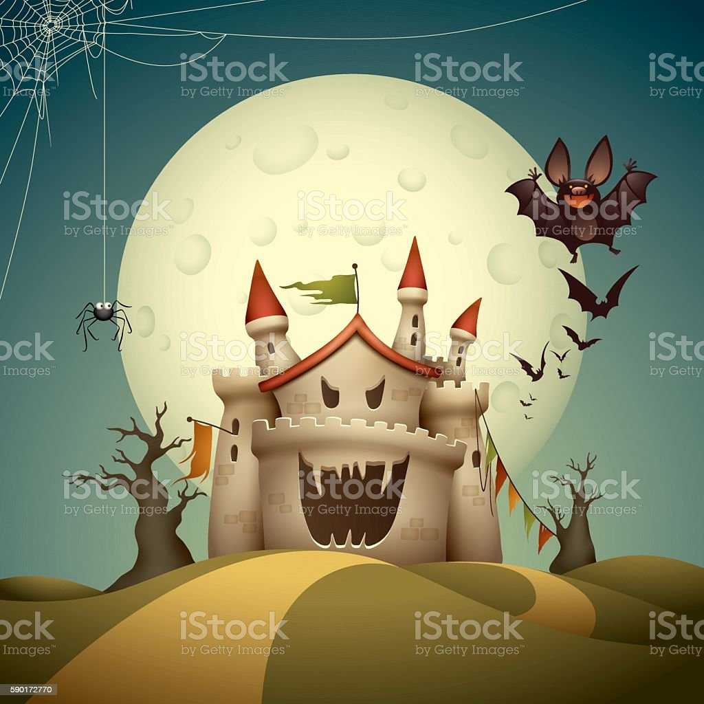 Haunted castle vector art illustration