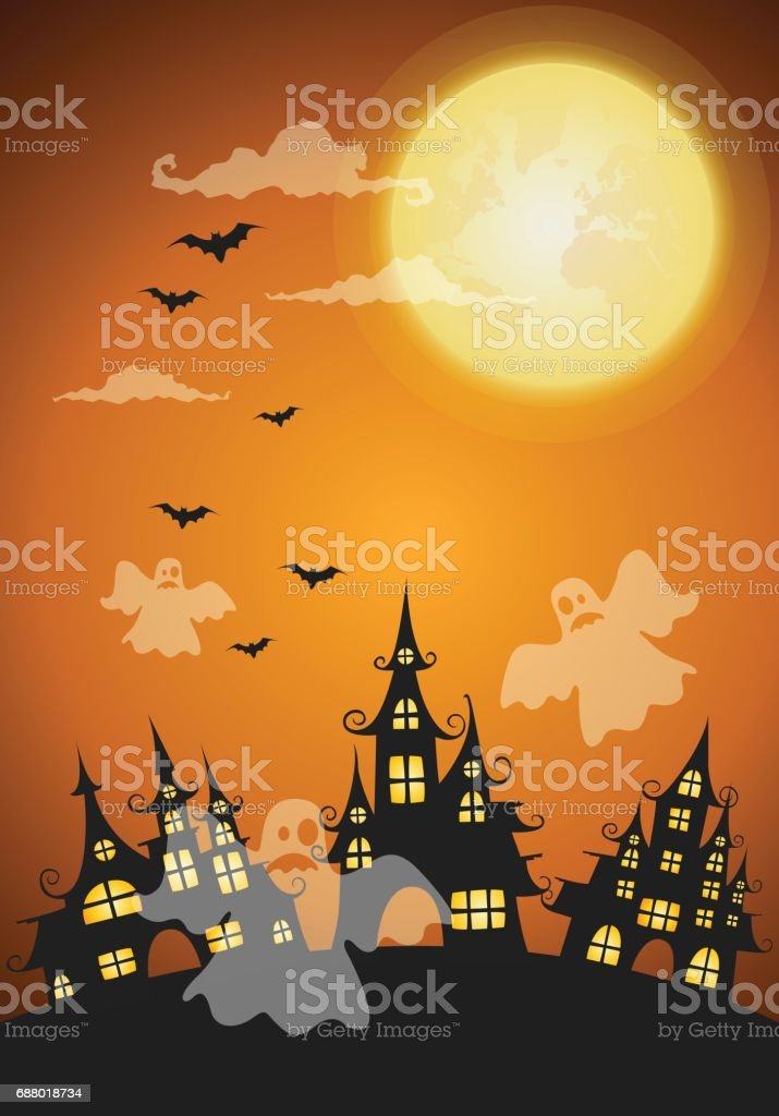 haunted house and full moon with ghost,Halloween night background vector art illustration