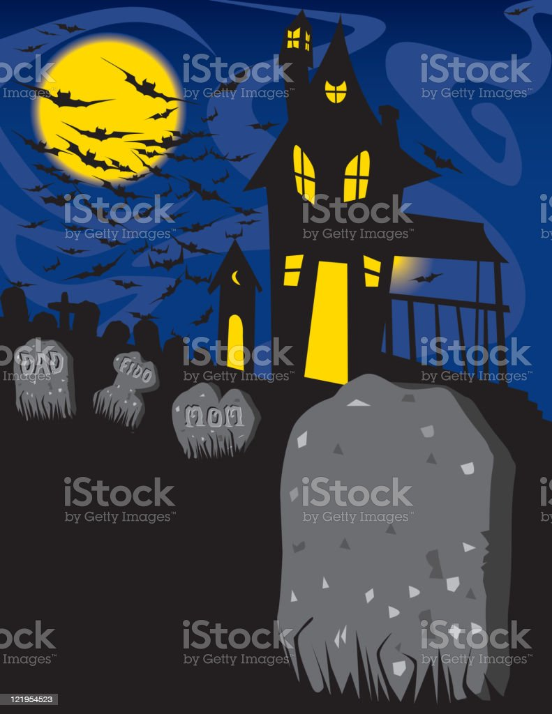 Haunted House and Graveyard royalty-free stock vector art