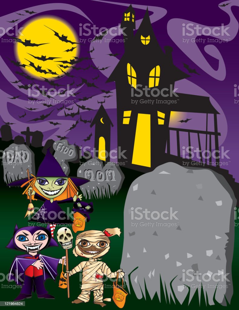 Haunted House and Halloweeners royalty-free stock vector art