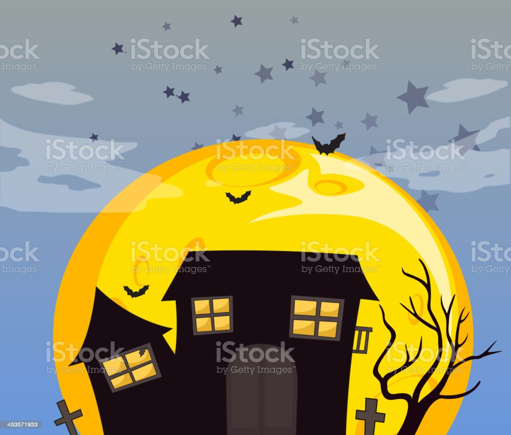Haunted house and the bright full moon royalty-free stock vector art