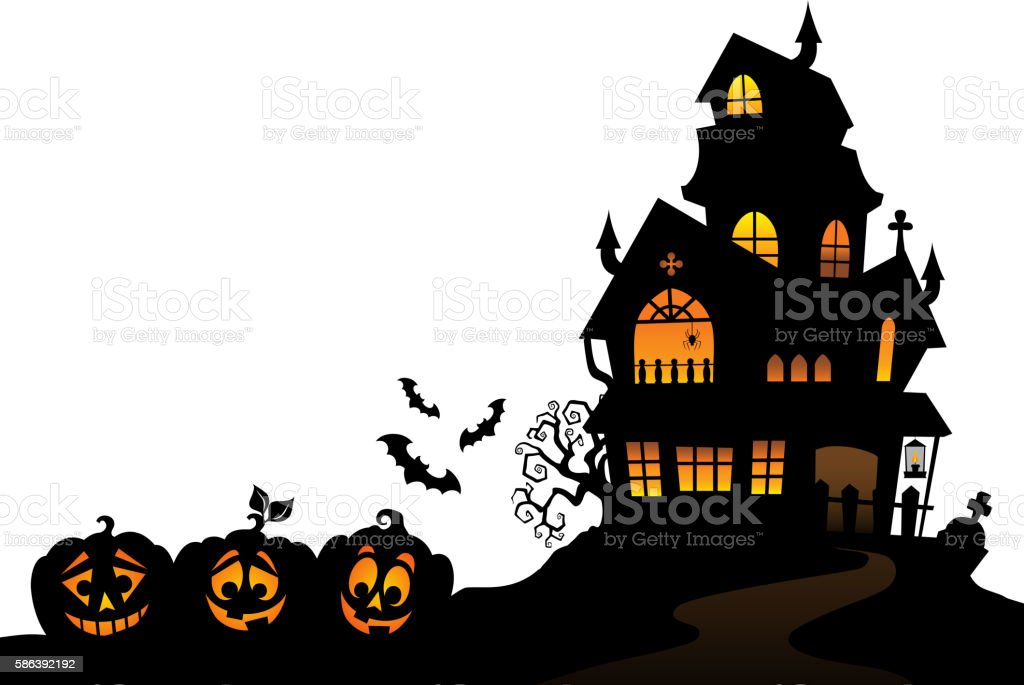 Haunted house silhouette theme image 4 vector art illustration