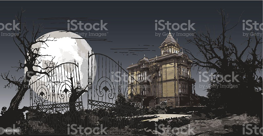 haunting manor vector art illustration