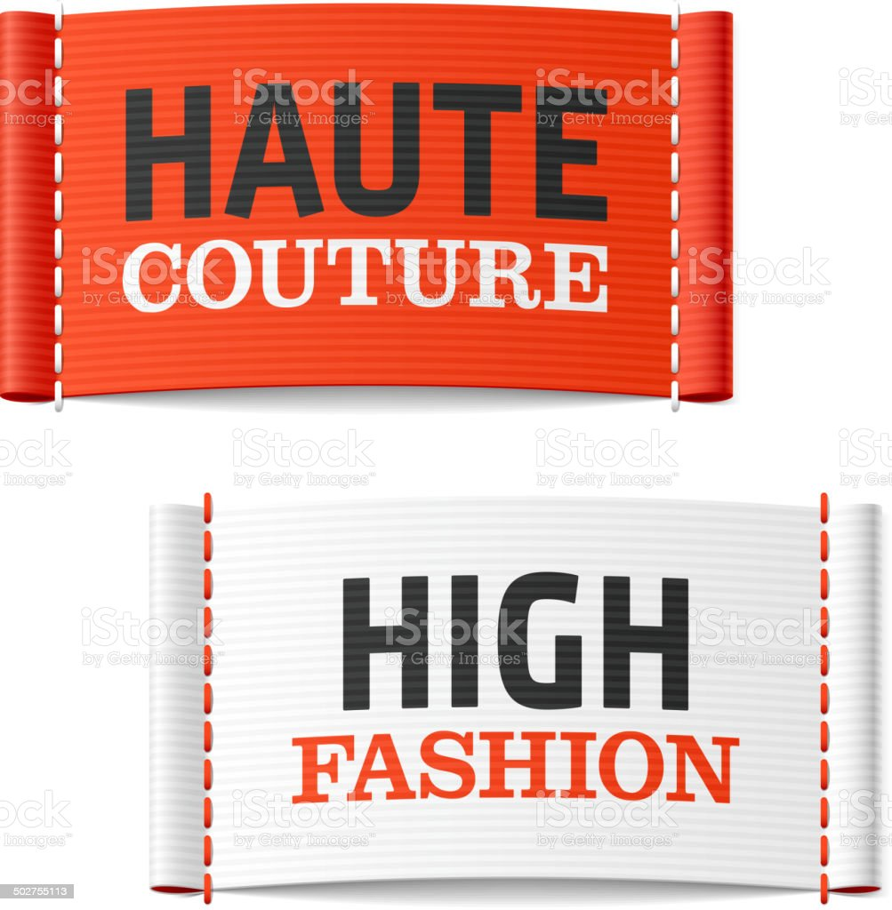 Haute Couture and High Fashion clothing labels vector art illustration