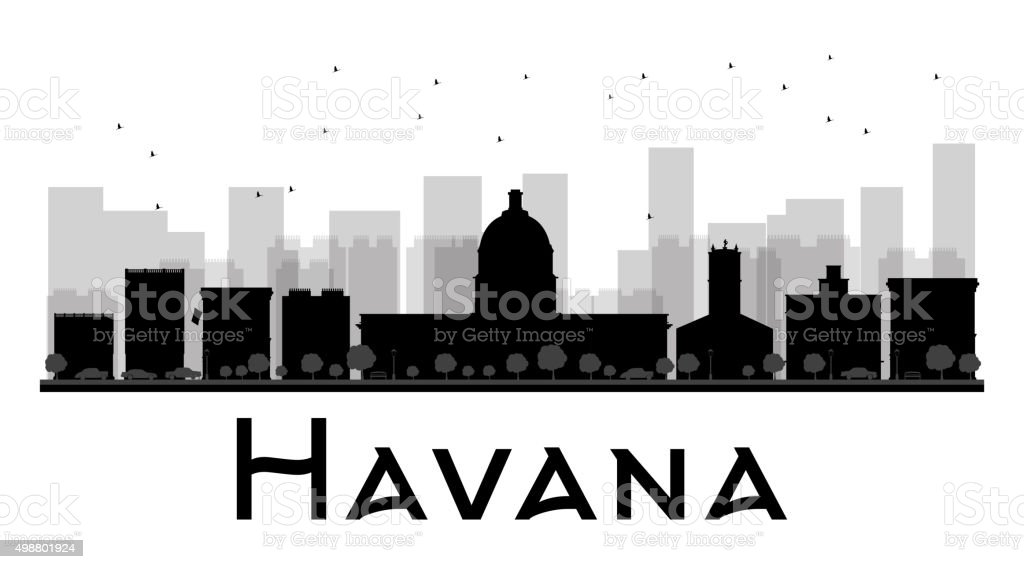 Havana City skyline black and white silhouette vector art illustration