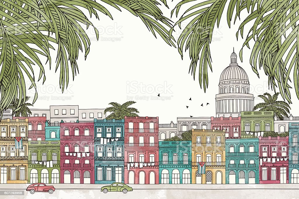 Havana, Cuba with palm leaves vector art illustration