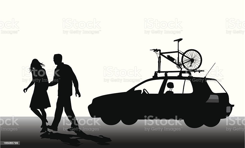 Have Bike Will Travel Vector Silhouette royalty-free stock vector art