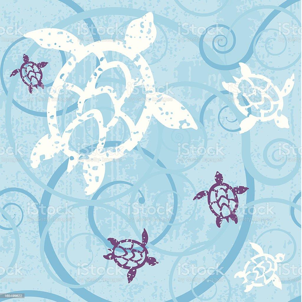 Hawai'an Turtles Pattern vector art illustration