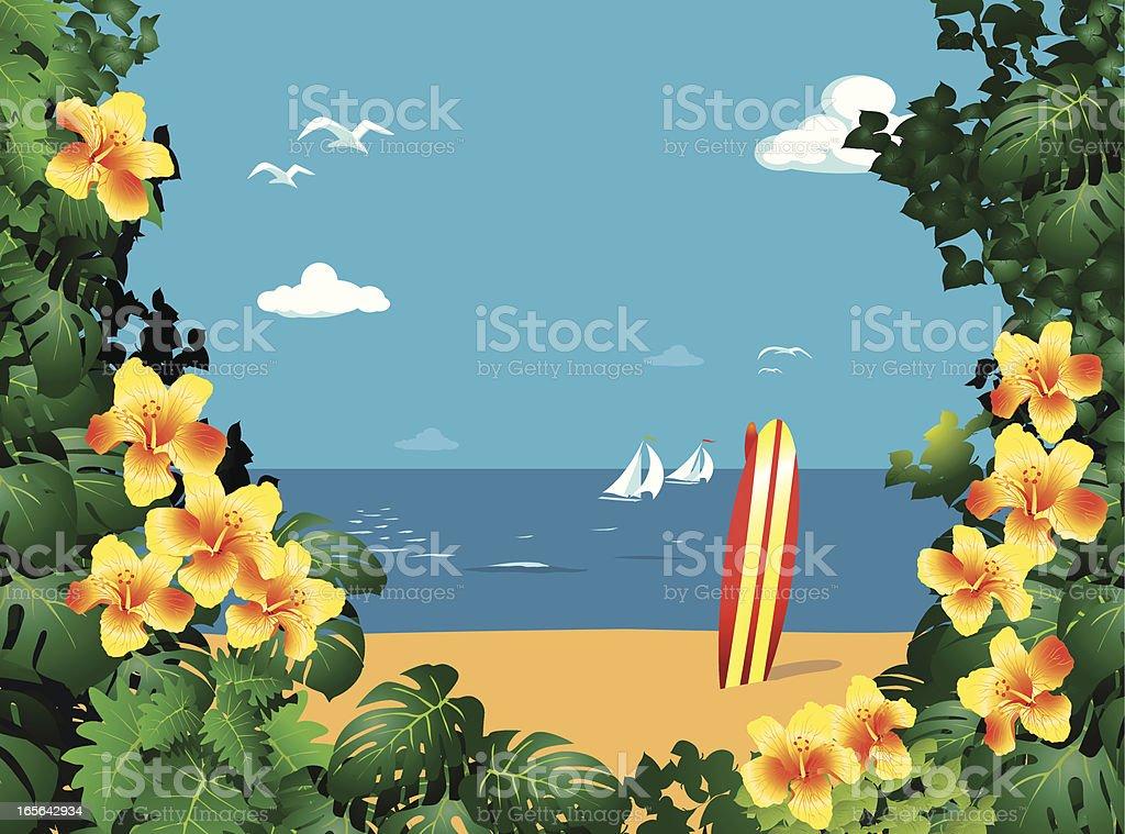 Hawaii Beach royalty-free stock vector art