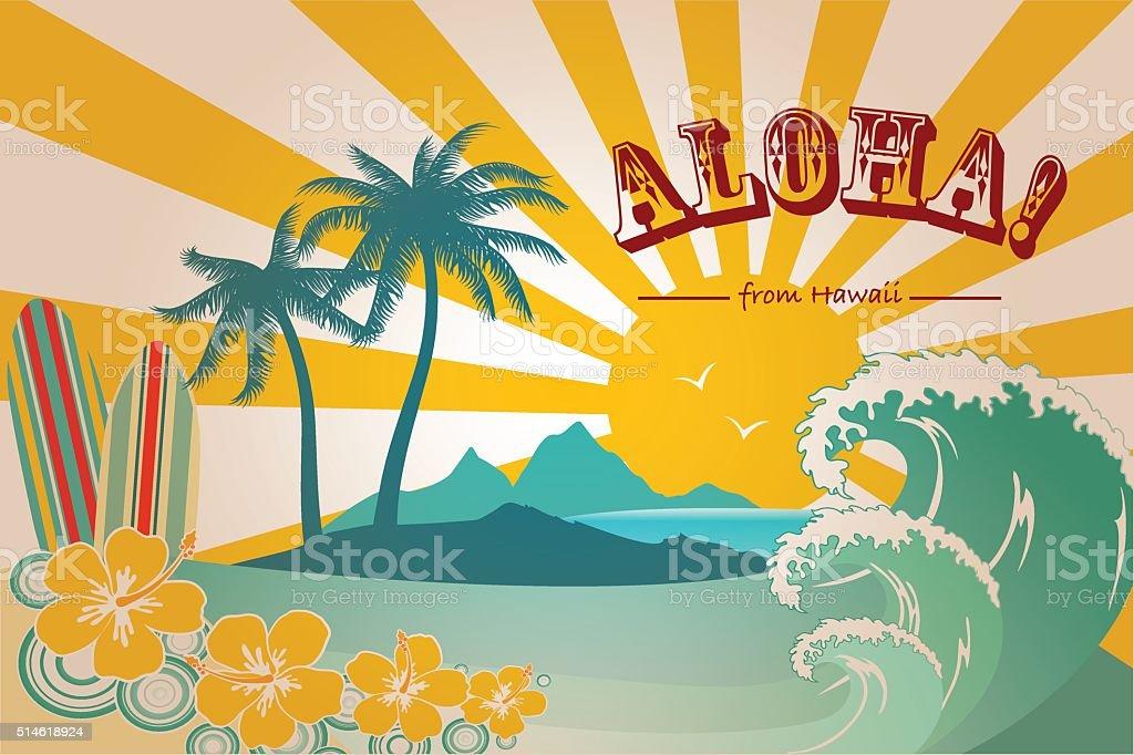 Hawaii Card vector art illustration