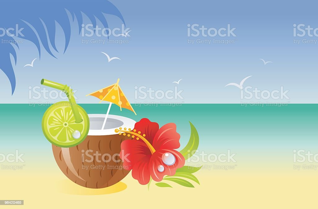 Hawaii coconut cocktail. vector art illustration