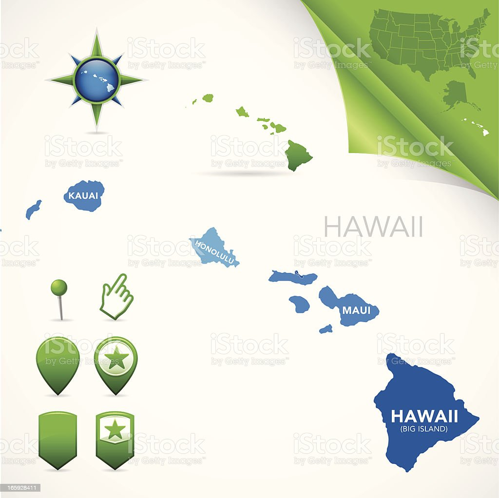 Hawaii County Map vector art illustration
