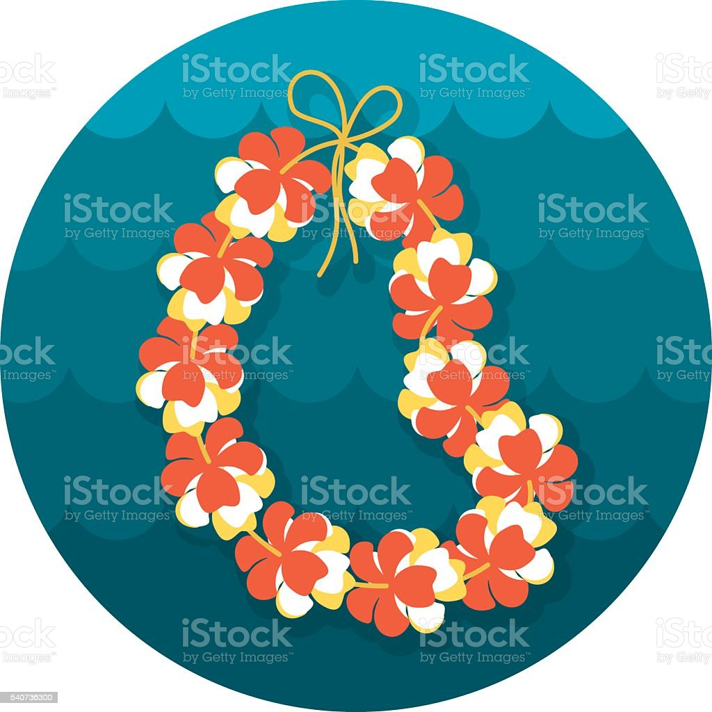 Hawaii flowers necklace, wreath icon. Vacation vector art illustration