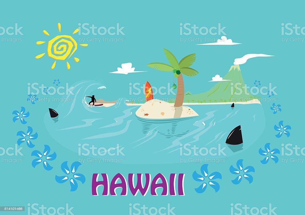 Hawaii Islands and Surfing Concept. Editable Clip Art. vector art illustration