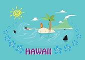 Hawaii Islands and Surfing Concept. Editable Clip Art.