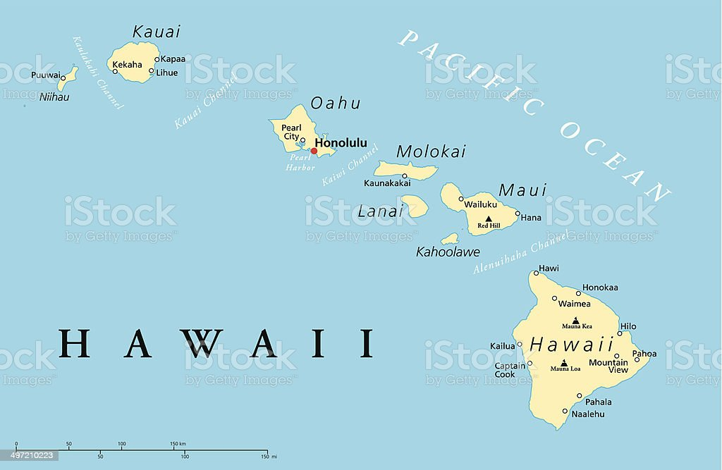 Hawaii Islands Political Map vector art illustration