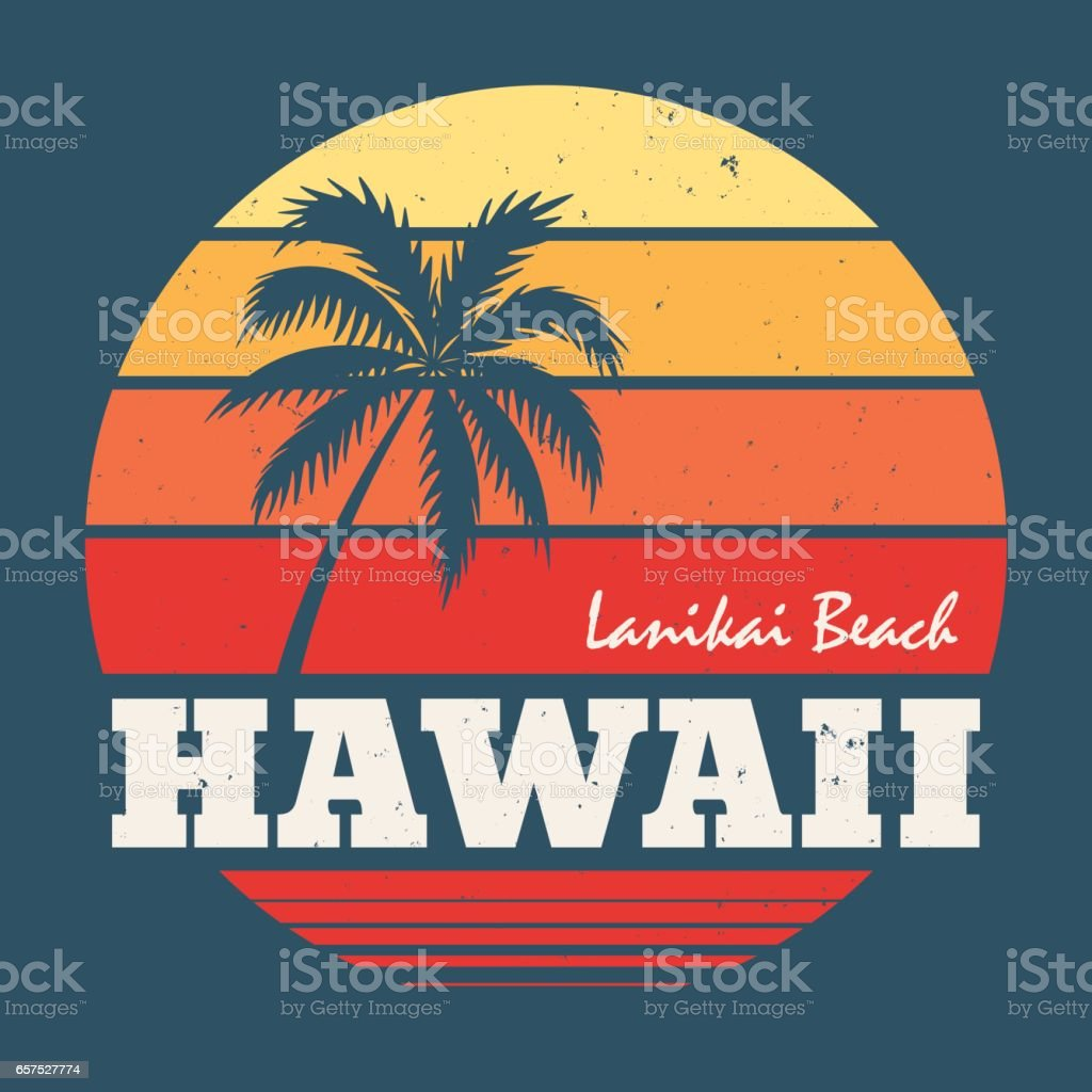 Hawaii Lanikai beach tee print with palm tree. vector art illustration