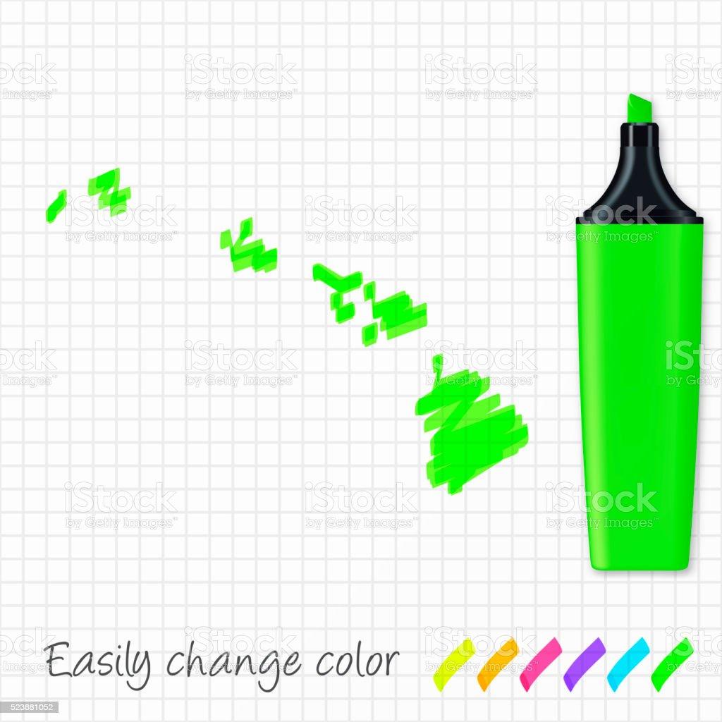 Hawaii map hand drawn on grid paper, green highlighter vector art illustration