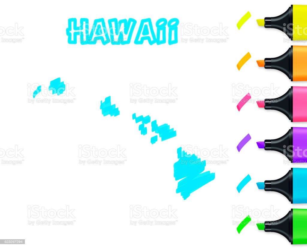 Hawaii map hand drawn on white background, blue highlighter vector art illustration