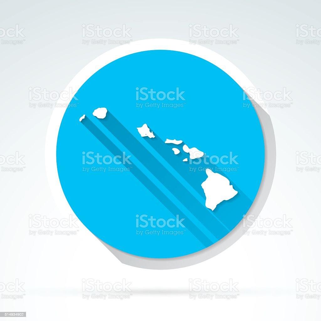 Hawaii map icon, Flat Design, Long Shadow vector art illustration