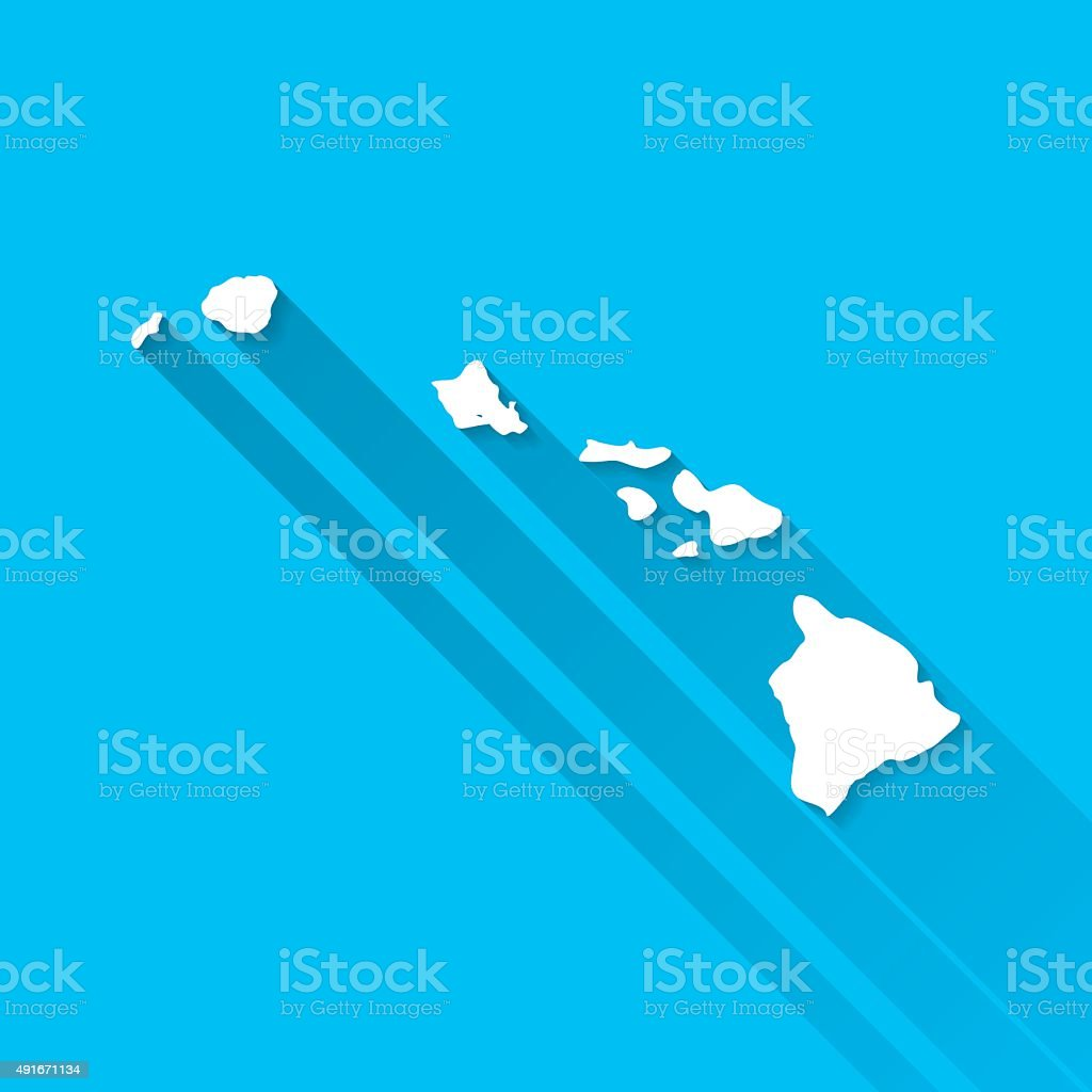 Hawaii Map on Blue Background, Long Shadow, Flat Design vector art illustration