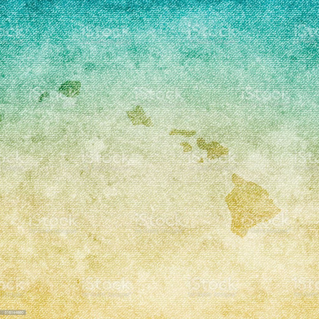 Hawaii Map on grunge Canvas Background vector art illustration