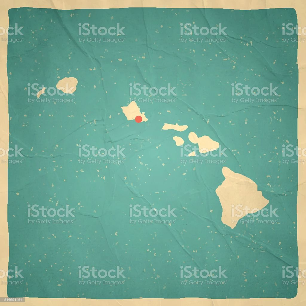 Hawaii Map on old paper - vintage texture vector art illustration
