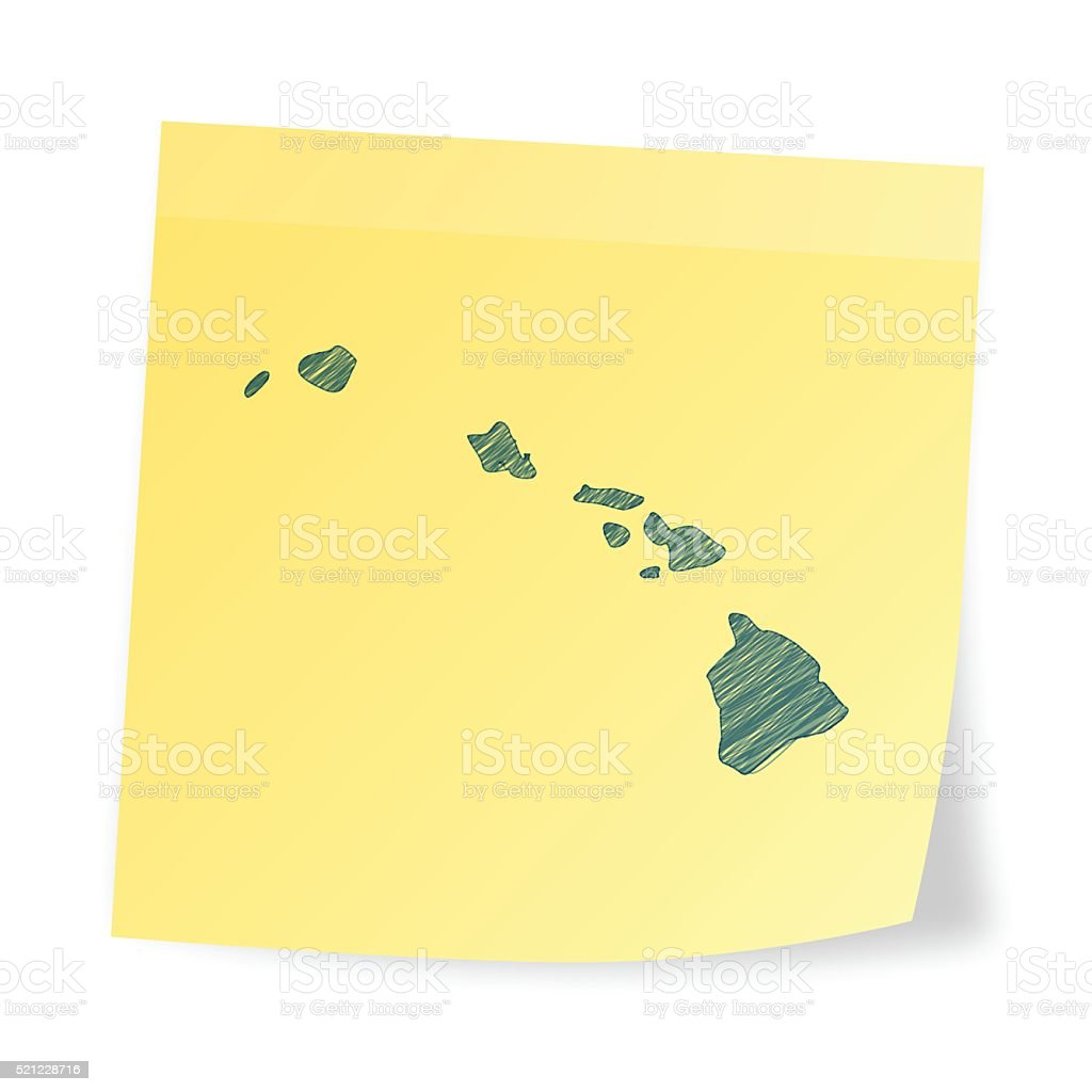 Hawaii map on sticky note with scribble effect vector art illustration