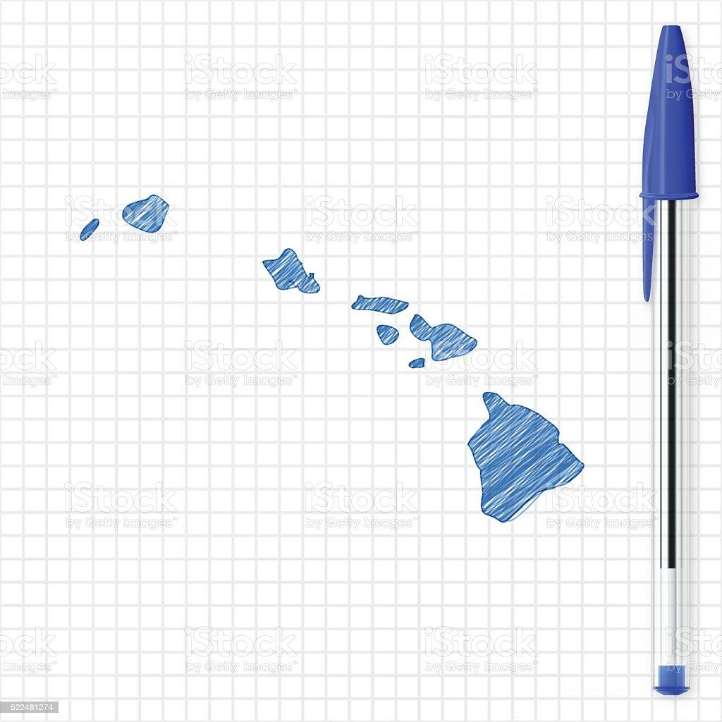 Hawaii map sketch on grid paper, blue pen vector art illustration