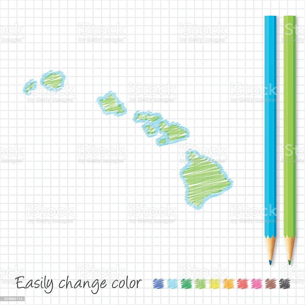 Hawaii map sketch with color pencils, on grid paper vector art illustration