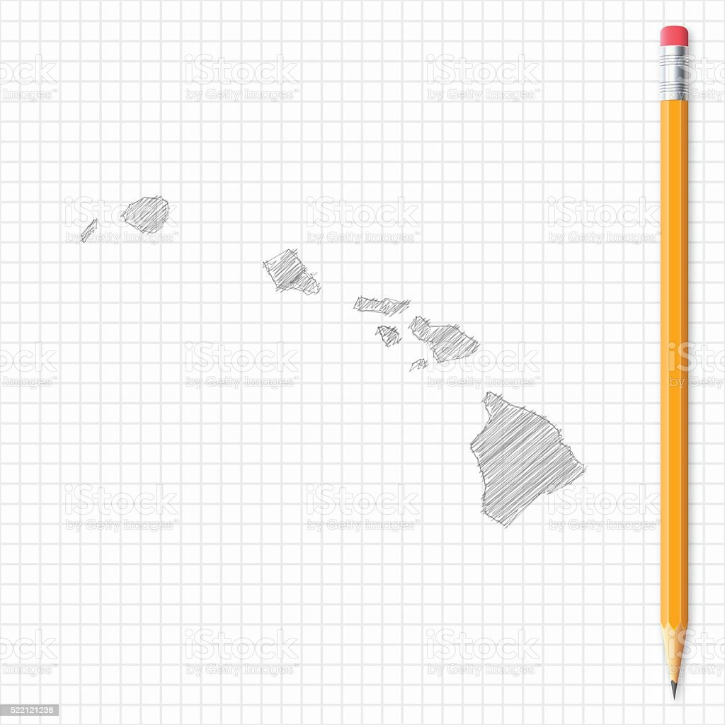 Hawaii map sketch with pencil on grid paper vector art illustration