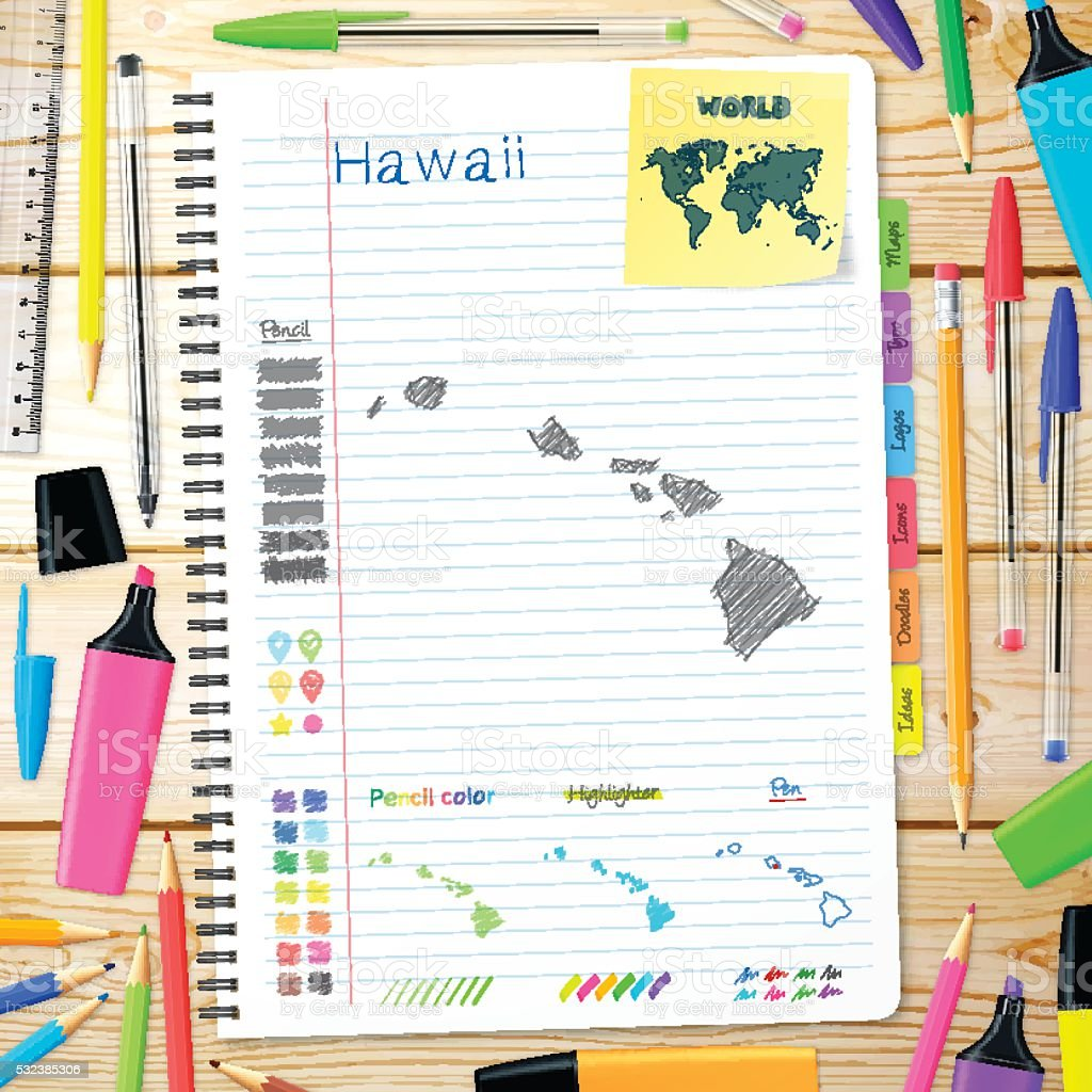 Hawaii maps hand drawn on notebook. Wooden Background vector art illustration