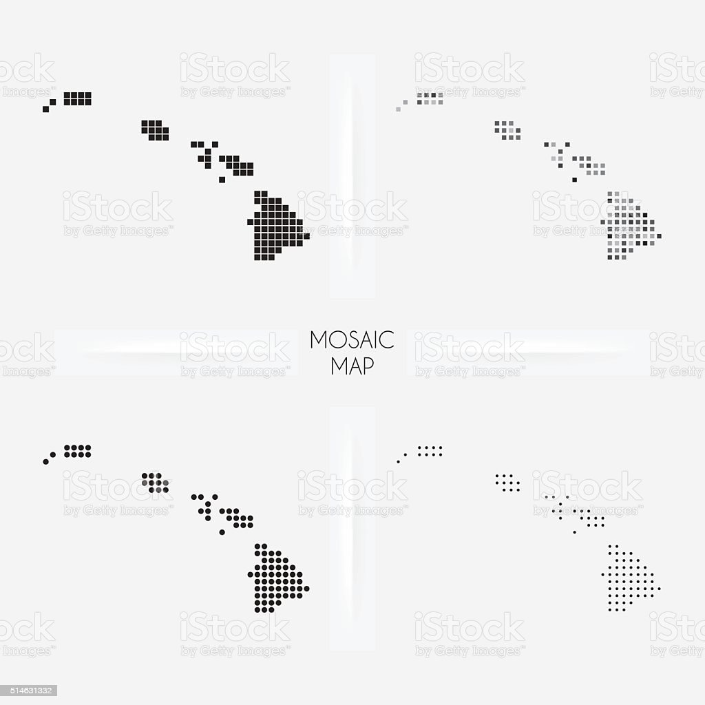 Hawaii maps - Mosaic squarred and dotted vector art illustration