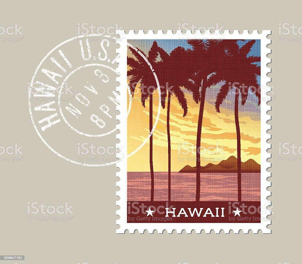 Hawaii postage stamp design. Tall palm trees at sunset. vector art illustration
