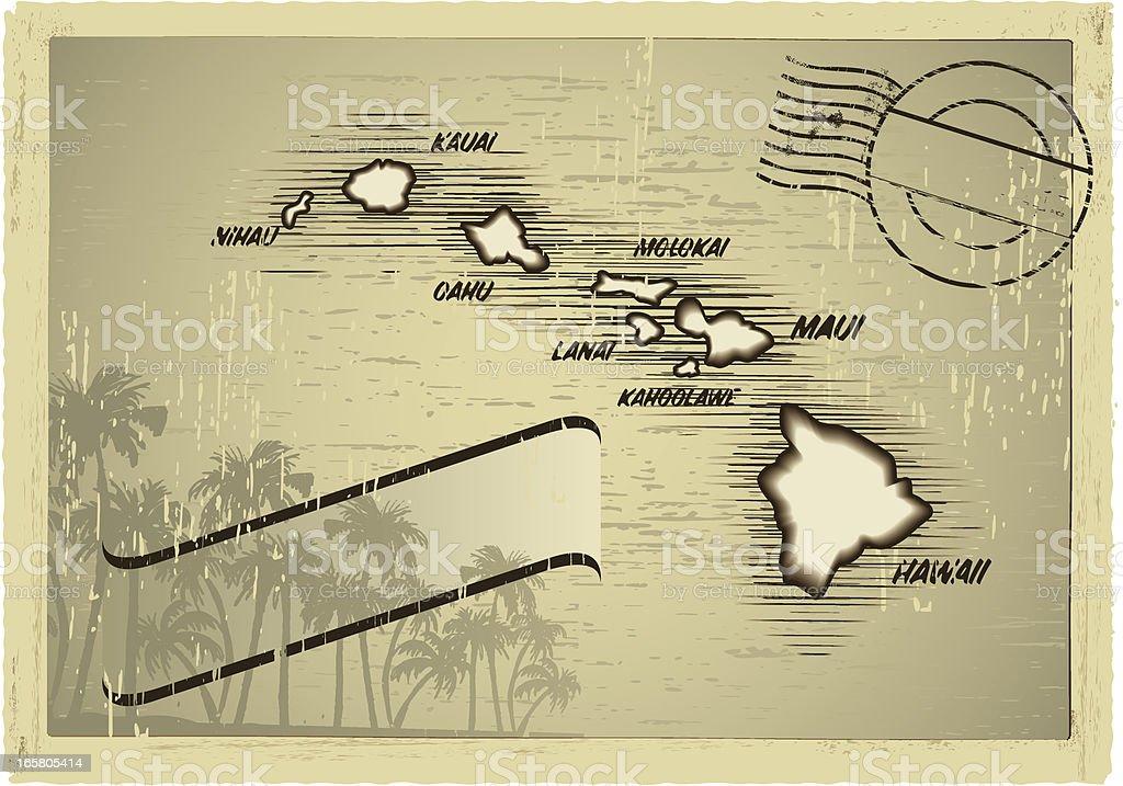 hawaii postcard vector art illustration
