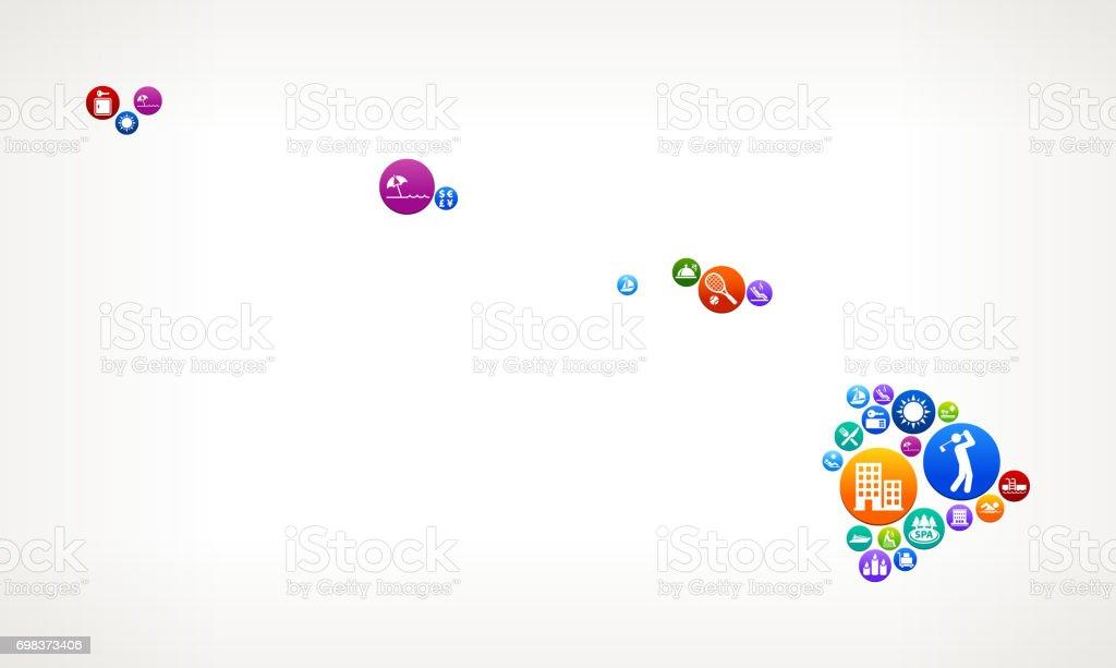 Hawaii Resort Vacation and Amenities Vector Button Pattern vector art illustration