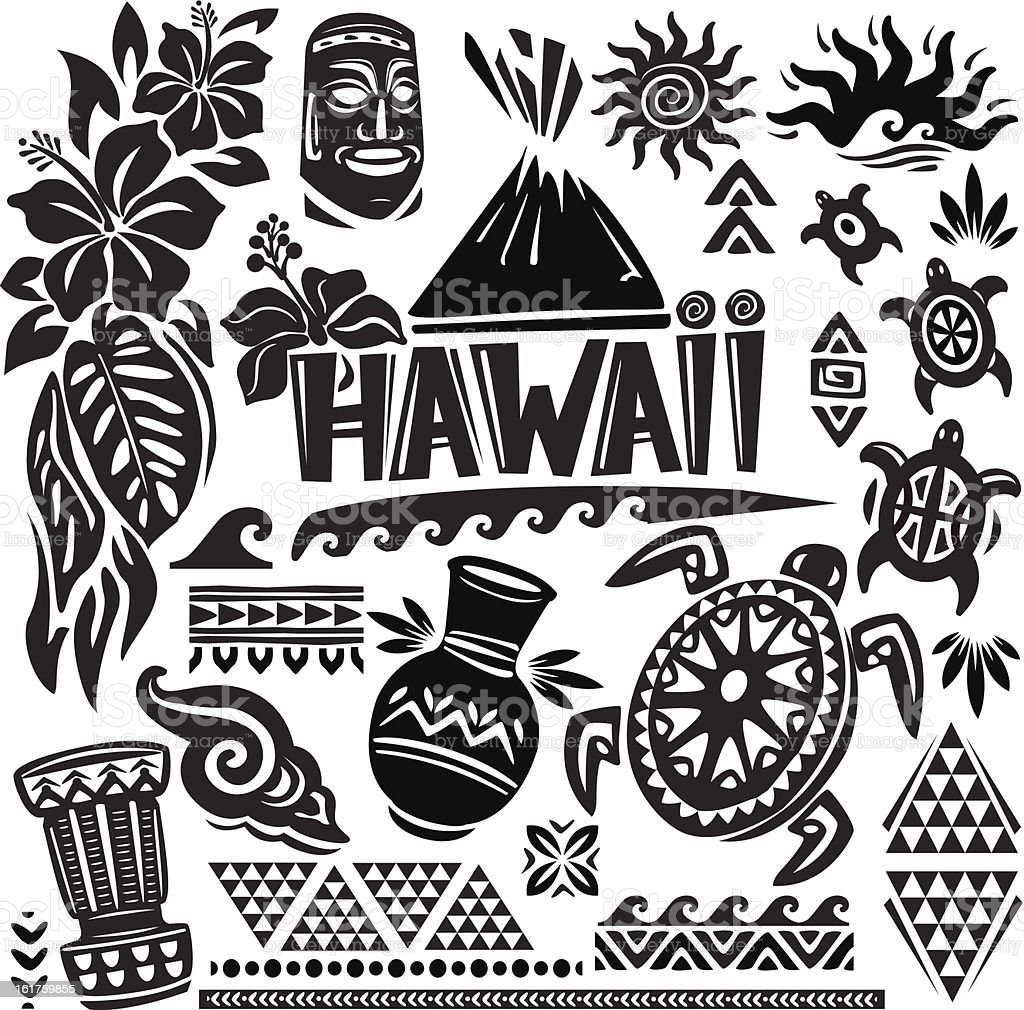 Hawaii Set vector art illustration