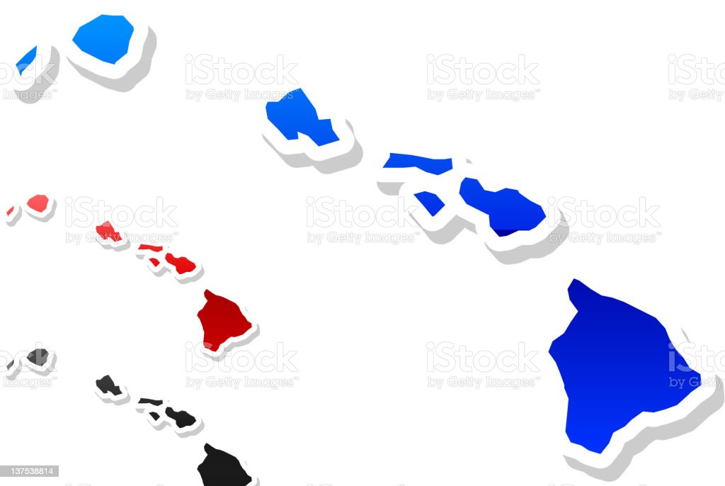 Hawaii state button royalty free vector art in 3 colors stock photo